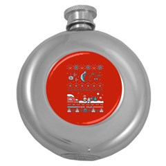 That Snow Moon Star Wars  Ugly Holiday Christmas Red Background Round Hip Flask (5 Oz) by Onesevenart