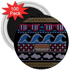 Ugly Summer Ugly Holiday Christmas Black Background 3  Magnets (100 Pack) by Onesevenart