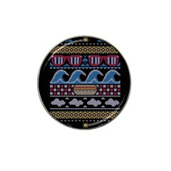 Ugly Summer Ugly Holiday Christmas Black Background Hat Clip Ball Marker by Onesevenart