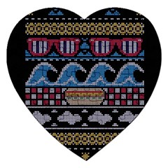 Ugly Summer Ugly Holiday Christmas Black Background Jigsaw Puzzle (heart) by Onesevenart