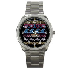Ugly Summer Ugly Holiday Christmas Black Background Sport Metal Watch by Onesevenart