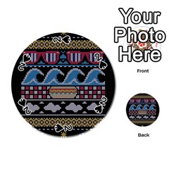 Ugly Summer Ugly Holiday Christmas Black Background Playing Cards 54 (round)  by Onesevenart