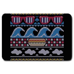 Ugly Summer Ugly Holiday Christmas Black Background Large Doormat  by Onesevenart