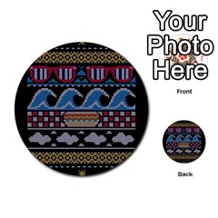 Ugly Summer Ugly Holiday Christmas Black Background Multi Purpose Cards (round)  by Onesevenart