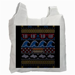Ugly Summer Ugly Holiday Christmas Black Background Recycle Bag (two Side)  by Onesevenart
