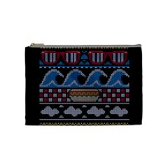 Ugly Summer Ugly Holiday Christmas Black Background Cosmetic Bag (Medium)  by Onesevenart
