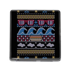 Ugly Summer Ugly Holiday Christmas Black Background Memory Card Reader (square) by Onesevenart