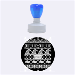 Ugly Summer Ugly Holiday Christmas Black Background Rubber Round Stamps (medium) by Onesevenart
