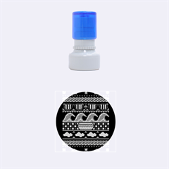 Ugly Summer Ugly Holiday Christmas Black Background Rubber Round Stamps (small) by Onesevenart