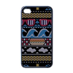Ugly Summer Ugly Holiday Christmas Black Background Apple Iphone 4 Case (black) by Onesevenart
