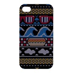 Ugly Summer Ugly Holiday Christmas Black Background Apple Iphone 4/4s Premium Hardshell Case by Onesevenart