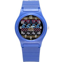 Ugly Summer Ugly Holiday Christmas Black Background Round Plastic Sport Watch (s) by Onesevenart