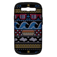 Ugly Summer Ugly Holiday Christmas Black Background Samsung Galaxy S III Hardshell Case (PC+Silicone) by Onesevenart