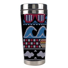 Ugly Summer Ugly Holiday Christmas Black Background Stainless Steel Travel Tumblers by Onesevenart