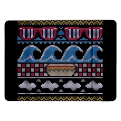Ugly Summer Ugly Holiday Christmas Black Background Samsung Galaxy Tab Pro 12 2  Flip Case by Onesevenart