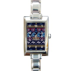 Ugly Summer Ugly Holiday Christmas Blue Background Rectangle Italian Charm Watch by Onesevenart