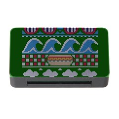Ugly Summer Ugly Holiday Christmas Green Background Memory Card Reader With Cf by Onesevenart