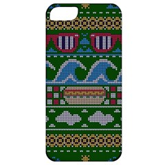 Ugly Summer Ugly Holiday Christmas Green Background Apple Iphone 5 Classic Hardshell Case by Onesevenart