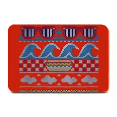 Ugly Summer Ugly Holiday Christmas Red Background Plate Mats by Onesevenart