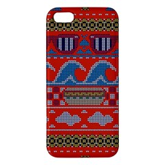Ugly Summer Ugly Holiday Christmas Red Background Apple Iphone 5 Premium Hardshell Case by Onesevenart