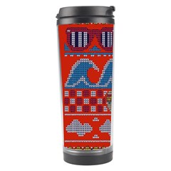 Ugly Summer Ugly Holiday Christmas Red Background Travel Tumbler by Onesevenart