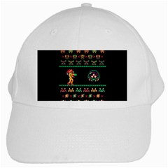 We Wish You A Metroid Christmas Ugly Holiday Christmas Black Background White Cap by Onesevenart