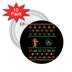 We Wish You A Metroid Christmas Ugly Holiday Christmas Black Background 2 25  Buttons (10 Pack)  by Onesevenart
