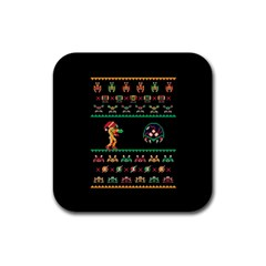 We Wish You A Metroid Christmas Ugly Holiday Christmas Black Background Rubber Square Coaster (4 Pack)  by Onesevenart