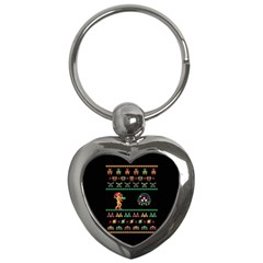 We Wish You A Metroid Christmas Ugly Holiday Christmas Black Background Key Chains (heart)  by Onesevenart