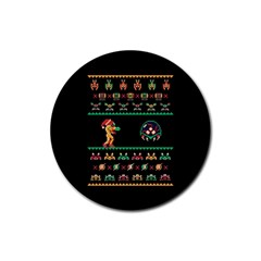 We Wish You A Metroid Christmas Ugly Holiday Christmas Black Background Rubber Coaster (round)  by Onesevenart