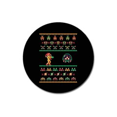 We Wish You A Metroid Christmas Ugly Holiday Christmas Black Background Magnet 3  (round) by Onesevenart