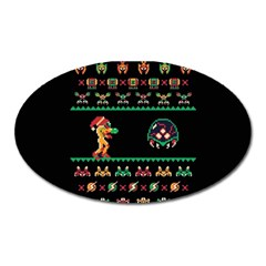 We Wish You A Metroid Christmas Ugly Holiday Christmas Black Background Oval Magnet by Onesevenart