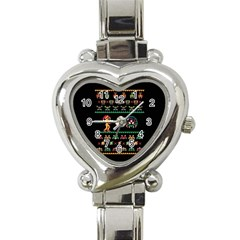 We Wish You A Metroid Christmas Ugly Holiday Christmas Black Background Heart Italian Charm Watch by Onesevenart