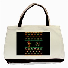 We Wish You A Metroid Christmas Ugly Holiday Christmas Black Background Basic Tote Bag by Onesevenart