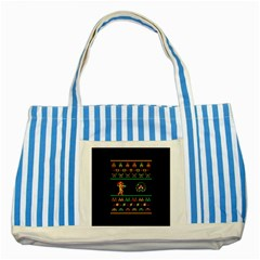 We Wish You A Metroid Christmas Ugly Holiday Christmas Black Background Striped Blue Tote Bag by Onesevenart