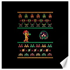 We Wish You A Metroid Christmas Ugly Holiday Christmas Black Background Canvas 12  X 12   by Onesevenart