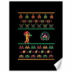 We Wish You A Metroid Christmas Ugly Holiday Christmas Black Background Canvas 18  X 24   by Onesevenart
