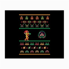 We Wish You A Metroid Christmas Ugly Holiday Christmas Black Background Small Glasses Cloth (2 Side) by Onesevenart