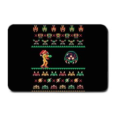 We Wish You A Metroid Christmas Ugly Holiday Christmas Black Background Plate Mats by Onesevenart