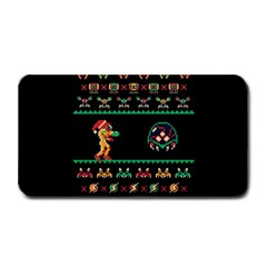 We Wish You A Metroid Christmas Ugly Holiday Christmas Black Background Medium Bar Mats by Onesevenart