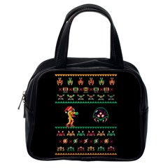We Wish You A Metroid Christmas Ugly Holiday Christmas Black Background Classic Handbags (one Side) by Onesevenart