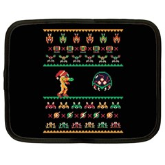We Wish You A Metroid Christmas Ugly Holiday Christmas Black Background Netbook Case (xl)  by Onesevenart