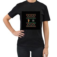 We Wish You A Metroid Christmas Ugly Holiday Christmas Black Background Women s T Shirt (black) by Onesevenart