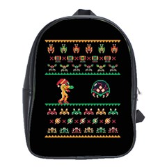 We Wish You A Metroid Christmas Ugly Holiday Christmas Black Background School Bags(large)  by Onesevenart