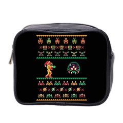 We Wish You A Metroid Christmas Ugly Holiday Christmas Black Background Mini Toiletries Bag 2 Side by Onesevenart