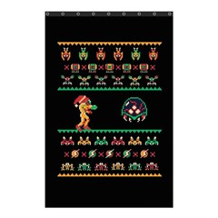 We Wish You A Metroid Christmas Ugly Holiday Christmas Black Background Shower Curtain 48  X 72  (small)  by Onesevenart