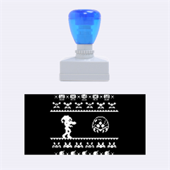 We Wish You A Metroid Christmas Ugly Holiday Christmas Black Background Rubber Stamps (medium)  by Onesevenart