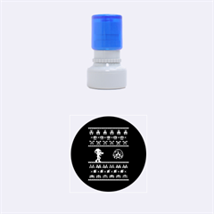 We Wish You A Metroid Christmas Ugly Holiday Christmas Black Background Rubber Round Stamps (small) by Onesevenart