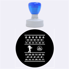 We Wish You A Metroid Christmas Ugly Holiday Christmas Black Background Rubber Round Stamps (large) by Onesevenart