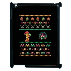 We Wish You A Metroid Christmas Ugly Holiday Christmas Black Background Apple Ipad 2 Case (black) by Onesevenart